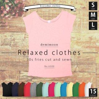 デミムーン【DEMIMOON】 レディース リブなし Tシャツ スリムフィット スポーツ ヨガ (5.8oz)