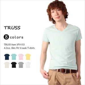 浅めのVネックで無理なく着用できるスリムフィットVネックTシャツ(4.3oz)