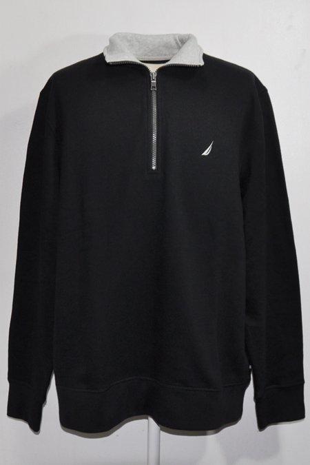 Quarter Zip Pullover Sweat -Black/Grey-