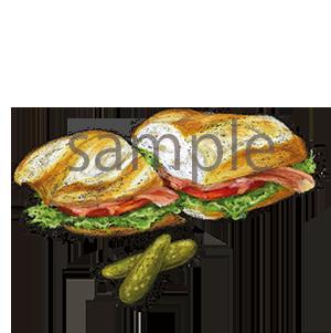 チョークアートイラスト バゲットサンドイッチ