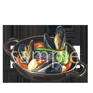 チョークアートイラスト ムール貝のグリル