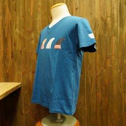 【Second Wind/セカンドウィンド】オリジナル半袖VネックTシャツ フィン ブルー