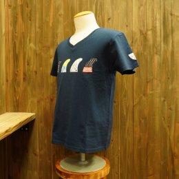 【Second Wind/セカンドウィンド】オリジナル半袖VネックTシャツ フィン ネイビー