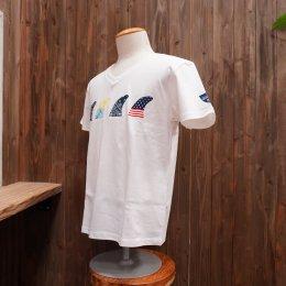 【Second Wind/セカンドウィンド】オリジナル半袖VネックTシャツ フィン ホワイト/イエロー&ブルー