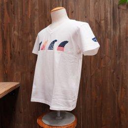 【Second Wind/セカンドウィンド】オリジナル半袖VネックTシャツ フィン ホワイト/オレンジ&レッド