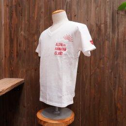 【Second Wind/セカンドウィンド】オリジナル半袖VネックTシャツ SUN ホワイト/レッド