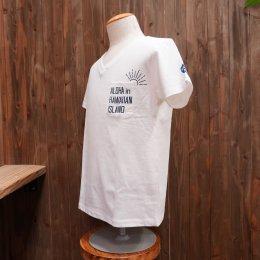 【Second Wind/セカンドウィンド】オリジナル半袖VネックTシャツ SUN ホワイト/ネイビー