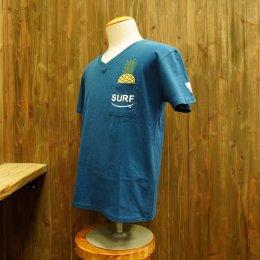 【Second Wind/セカンドウィンド】オリジナル半袖VネックTシャツ パイナップル ブルー