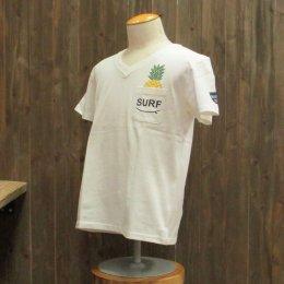 【Second Wind/セカンドウィンド】オリジナル半袖VネックTシャツ パイナップル ホワイト/ネイビー