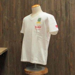 【Second Wind/セカンドウィンド】オリジナル半袖VネックTシャツ パイナップル ホワイト/レッド
