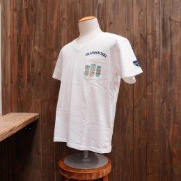 【Second Wind/セカンドウィンド】オリジナル半袖VネックTシャツ ティキ ホワイト/ターコイズ