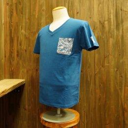 【Second Wind/セカンドウィンド】オリジナル半袖VネックTシャツ タパ ブルー