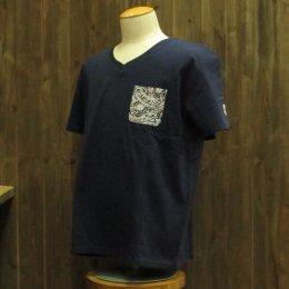 【Second Wind/セカンドウィンド】オリジナル半袖VネックTシャツ タパ ネイビー