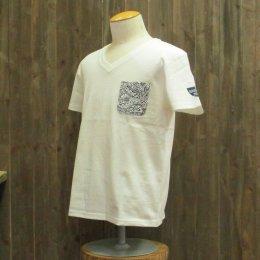 【Second Wind/セカンドウィンド】オリジナル半袖VネックTシャツ タパ ホワイト/ネイビー