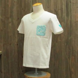 【Second Wind/セカンドウィンド】オリジナル半袖VネックTシャツ タパ ホワイト/ターコイズ
