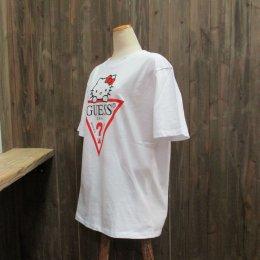 【GUESS/ゲス】ハローキティコラボ半袖Tシャツ 大キティ ホワイト