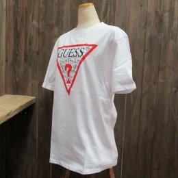 【GUESS/ゲス】ハローキティコラボ半袖Tシャツ 細キティ柄 ホワイト