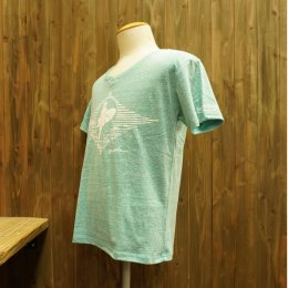 【Second Wind/セカンドウィンド】オリジナル半袖Vネック杢Tシャツ サーフガール グリーン