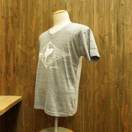 【Second Wind/セカンドウィンド】オリジナル半袖Vネック杢Tシャツ サーフガール ネイビー