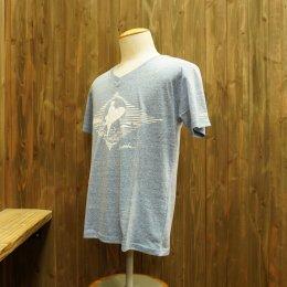 【Second Wind/セカンドウィンド】オリジナル半袖Vネック杢Tシャツ サーフガール ライトブルー