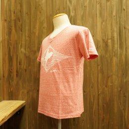 【Second Wind/セカンドウィンド】オリジナル半袖Vネック杢Tシャツ サーフガール レッド