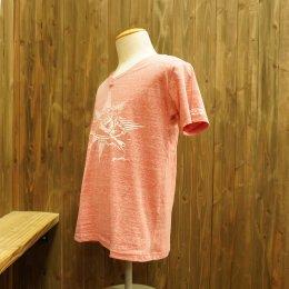 【Second Wind/セカンドウィンド】オリジナル半袖Vネック杢Tシャツ サーフボーイ レッド