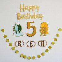 誕生日 飾り フクロウ バースデーデコレーションセット お誕生日パーティーのお祝いに