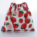 プチ巾着袋(イチゴ ホワイト)