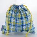 プチ巾着袋(カラフルチェック ブルー)