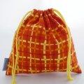 プチ巾着袋(カラフルチェック オレンジ)
