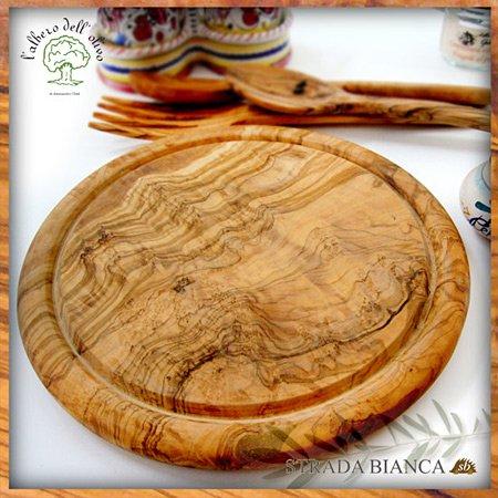 オリーブの丸形まな板(溝付き・径24cm)