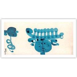 Stig Lindberg - クリスマスカード/グリーティングカード(ブルー)