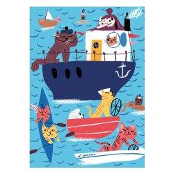 Kehvola Design / Marika Maijala [ Seacats ] postcard