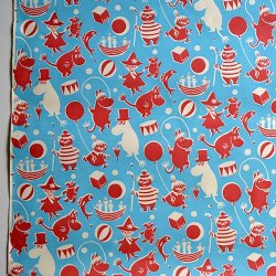 STOCKMANN / Tove Jansson [ Moomin 1950's Wrapping paper ] 50x70 ポスターフレーム付き