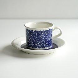 ARABIA / Inkeri Leivo [ faenza sininen kukka ] coffeecup & saucer