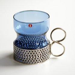 iittala / Timo Sarpaneva [ Tsaikka ] ホルダー付グラス(blue x silver)