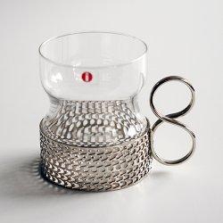iittala / Timo Sarpaneva [ Tsaikka ] ホルダー付グラス(clear x silver)