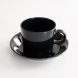 ARABIA / Kaj Franck [ OLD TEEMA ] coffeecup & saucer (140ml/black)