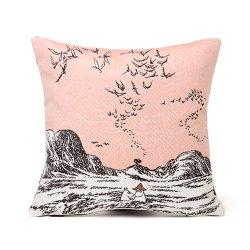 Aurora Decorari - ムーミンのゴブラン織りクッションカバー 32x33cm(ムーミン・イン・ザ・シー/レッド/裏地グレー)