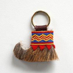 トナカイ毛皮のキーホルダー (RED)