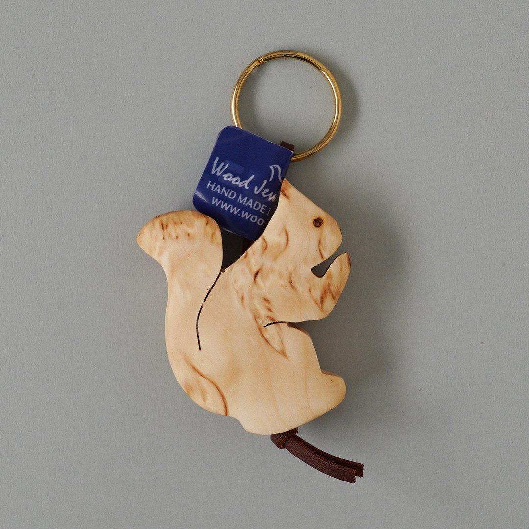 Wood Jewel Finland - 白樺のキーホルダー (リス)