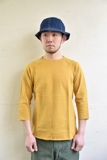 SPINNER BAIT(スピナーベイト) ミニ裏毛ラグランクルー7分袖 マスタード