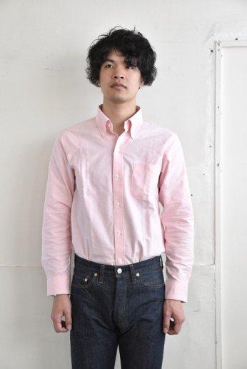 H by FIGER(エイチバイフィガー)オックスフォード無地ボタンダウンシャツ ピンク