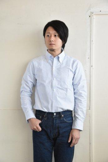 H by FIGER(エイチバイフィガー)キャンディーストライプボタンダウンシャツ サックス
