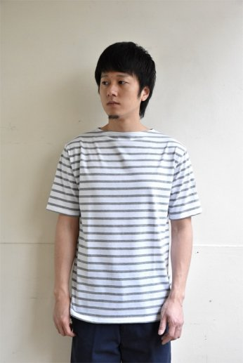 Saint James(セントジェームス) PIRIAC(ピリアック)半袖Tシャツ NEIGE/GRIS(白×グレー)