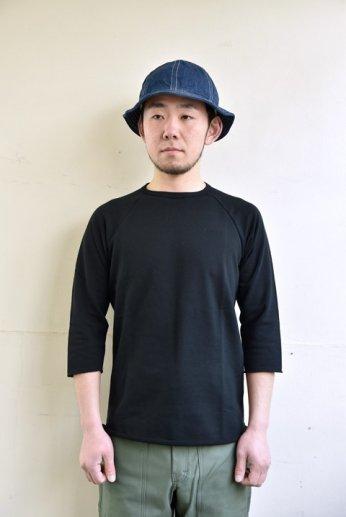 SPINNER BAIT(スピナーベイト)ミニ裏毛ラグランクルー7分袖 ブラック