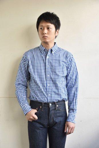 SERO(セロ)ボタンダウンシャツ ギンガムチェック ブルー