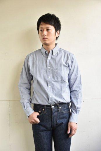 SERO(セロ)ボタンダウンシャツ ナローストライプ ブルー