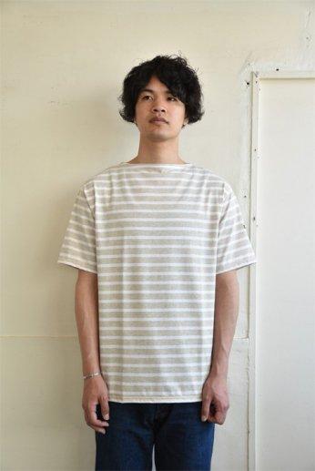 Saint James(セントジェームス) PIRIAC(ピリアック)半袖Tシャツ NATURAL/NEIGE(杢ベージュ×白)