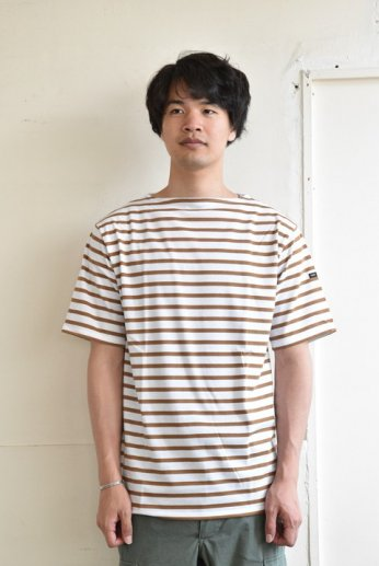 Saint James(セントジェームス) PIRIAC(ピリアック)半袖Tシャツ NEIGE/CIGARE(白×タバコ)